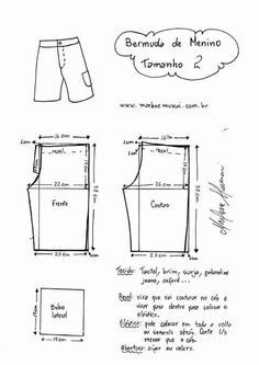 Infantil: Bermuda – DIY – molde, corte e costura Sewing Pants, Sewing Kids Clothes, Baby Clothes Patterns, Sewing For Kids, Baby Sewing, Clothing Patterns, Mens Sewing Patterns, Kids Patterns, Chor