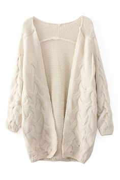 Buy abaday Twisted Pattern Open Front Sheer Cream Cardigan from abaday.com, FREE shipping Worldwide - Fashion Clothing, Latest Street Fashion At Abaday.com