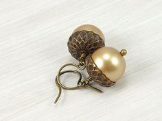 Acorn Earrings Fall Jewelry Autumn Jewelry Antique Brass Earrings Pearl Earrings Custom Fall Fashion Dark Brass Jewelry