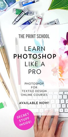 Ready to up your design game? We're giving you the tools you need to become the best designer you can be as we de-mystify the wonderful world of Photoshop for you! ✖️ Photoshop for Textile Design - Illustration ✖️ Photoshop for Textile Design - Watercolour. ENROL NOW!
