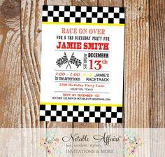 Racecar Black Checkered border Red and Yellow Birthday Party Invitation - Racecar Birthday - Boy Racing Party Invitation - racing party by NotableAffairs