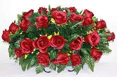 XL Burgundy Roses Artificial Silk Flower Cemetery Tombstone Grave Saddle Crazyboutdeco Cemetery Flowers