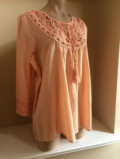 Vince Camuto New Orange Crocheted Peasant Style Shirt Top Sz M MSRP $119 00 | eBay