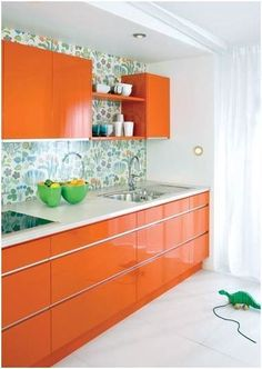 Orange-Kitchen-Contemporary-Cabinets. Not sure about the cabinet style, but love the orange.