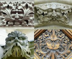Green Men on Mansfield College, St. John's College and Brasenose College, Oxford, England (photos Rex Harris)