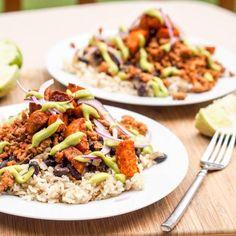 Turkey Taco Bowls with Avocado Crema | FaveGlutenFreeRecipes.com