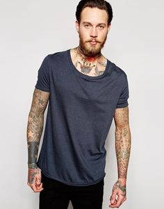 ASOS Longline T-Shirt With Stretch Neck And Dropped Hem In Ebony