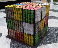 Rubik's cube canstruction artwork