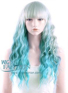 """27"""" Heat Resistant Long Curly Grey Mixed Blue Pastel Ombre Fashion Hai"""
