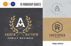 Free download (this Week Only): Monogram Pack 0.3 - This pack includes 10 carefully crafted vintage style Logo Templates with monogram incorporated and bonus 9 Leaf Textures in PSD and PNG for you to use and modify as your own - on Creative Market