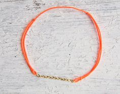 Gold Chain w/ Neon Colored Bracelet by cyclicalind on etsy $12
