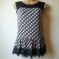 Women Ann Taylor XSmall Top Blouse Tank Shirt Blue White Polka Dot Drop Waist A1