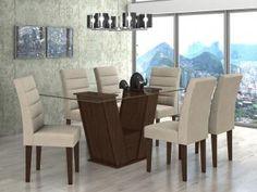 Conjunto de Mesa MDF e MDP com 6 Cadeiras Lopas - Fiorella