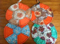 Vintage Scrap Potholders  a set of 4 by WildGooseChase on Etsy, $24.00