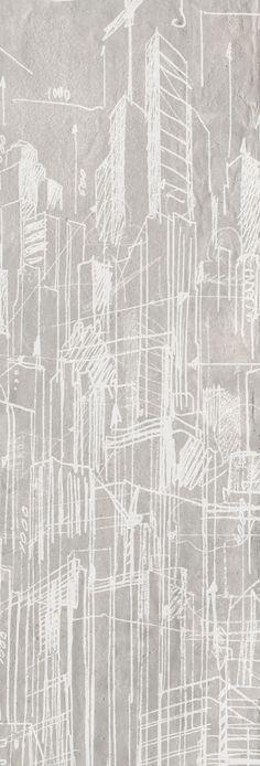 Carta da parati / Wall paper: GRATTACIELI – Lavagna #Tecnografica #ItalianWallcoverings #cartadaparati #wallpaper #bianca #white #arredamentodinterni #interiordesign #design #moderna #soggiorno #industrial #ufficio #città #progetto #ideas #livingroom #office #buildings #sketch