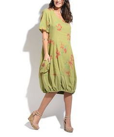 Green & Pink Floral Linen-Blend Short-Sleeve Dress