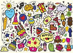 Vector illustration of happy party background,hand drawn happy element set,doodle style Happy Doodles, Party Background, Happy Party, Long Hoodie, Wall Tapestry, Decorative Throw Pillows, How To Draw Hands, Stationery, Iphone Cases