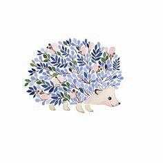 Winter Dusk floral hedgehog Art and illustration by Anna Emilia Art Inspo, Painting Inspiration, Color Inspiration, Art Mignon, Art Et Illustration, Hedgehog Illustration, Art Design, Oeuvre D'art, Cute Art