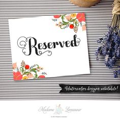 Printable Reserved sign wedding signs instant by thepariswife