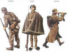 World War II Uniforms - Germany - 1944 June, Normandy, Senior Sergeant, 916th Inf. Regiment Greece - 1940 Feb., Greece, Private, Evzones Inf. Unit Hungary - 1942 Nov., Southern USSR, Infantryman, Rifle Brigade