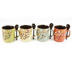Mr. Coffee Retro Cafe 4 PC 14 oz Mug w/ Spoon Set