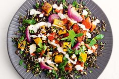 Wild rice is actually a grass. It has a chewy texture and nutty flavour and complements the roasted vegetables and aromatic spices in this warm salad.