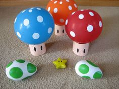 painted yoshi egg rocks and balloon top mushrooms