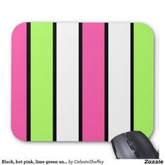Black, hot pink, lime green and white stripes mouse pad (sold - UK) :-) Thank you!