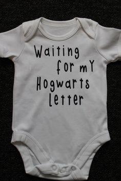 Harry Potter waiting for my Hogwarts Letter Baby Vest, Funny Baby Vest, Onesie, BodySuit, Romper, Christening Gift, Birthday, Cute Onesie on Etsy, $8.69