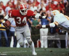 Herschel Walker of the Georgia Bulldogs carries the ball against the Tennessee Volunteers on September 1981 in Athens, Georgia. Get premium, high resolution news photos at Getty Images College Football Players, School Football, Football Helmets, Georgia Bulldog Mascot, Georgia Bulldogs Football, Sports Images, College Fun, Herschel, Yellow Jackets