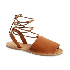 Women's Topshop 'Holly' Lace-Up Sandal (290 NOK) ❤ liked on Polyvore featuring shoes, sandals, tan, topshop shoes, open toe leather sandals, summer shoes, laced sandals and tan shoes