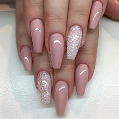 Pink with Glitter Accent Nail More