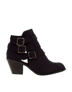 Image 1 ofNew Look Wide Fit Cave Black Cut Out Heeled Ankle Boots