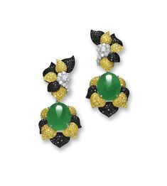 VERY FINE PAIR OF JADEITE, DIAMOND AND COLOURED DIAMOND PENDENT EAR CLIPS Each suspending on a highly translucent oval jadeite cabochon of emerald green colour, surmounted and surrounded by a cluster of flower petals set with brilliant-cut yellow and black diamonds, highlighted by brilliant-cut diamonds, mounted in 18 karat white, yellow and blackened gold, clip fittings, pendant detachable.( sold for $615,644 AUD)
