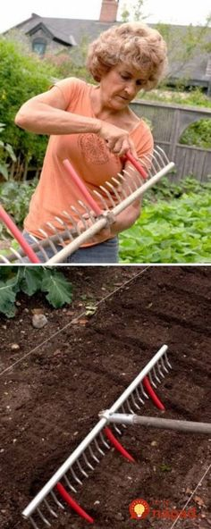 Great gardening tips! 11 Use A Rake With Tubing Attached To Mark Rows For Planting Veg Garden, Garden Beds, Lawn And Garden, Garden Tools, Garden Rake, Garden Cottage, Spring Garden, Farm Gardens, Outdoor Gardens