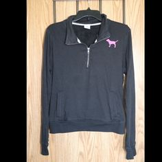 Black Quarter Zip Very comfortable, go-to pullover! Fits loose, zipper doesn't go too far down. Bright pink lettering, worn less than 10 times. PINK Victoria's Secret Tops Sweatshirts & Hoodies