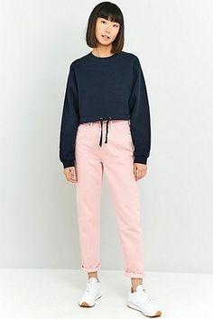 Urban Renewal Vintage Customised Blue Drawstring Hem Cropped Sweatshirt
