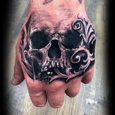 90 Filigree Tattoos For Men – Ornamental Ink Desig … – Tattoo World Evil Skull Tattoo, Skull Hand Tattoo, Hand Tats, Hand Tattoos For Guys, Skull Tattoo Design, Skull Tattoos, Body Art Tattoos, Sleeve Tattoos, Tattoo Sketches