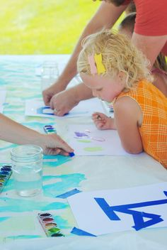 art birthday party- really like the happy bday sign using tape and watercolor paint.