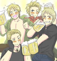Who wants to get drunk with them?(Look at England, how drunk he is) Hahaha . Hetalia- England,Denmark,Germany, and Ze Awesome Prussia Dennor, Spamano, Usuk, Hetalia Germany, Hetalia England, Divas, Hetalia Funny, Hetalia Fanart, Drinking Buddies