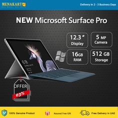New Microsoft Surface Pro 2017 - 512GB, 16GB, i7, Intel® Iris™ Plus Graphics 640 (One Year Warranty) New Surface Pro, Microsoft Surface Pro 4, Free Sign, First Year, Thing 1 Thing 2, Uae, How To Remove, Graphics