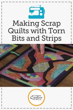 Heather Thomas talks about using torn bits and scraps of leftover fabric on smaller quilting projects to create fun, unique pieces. She shows several examples of her own work, including a project that she based off of her daughter's scribbling and a few pieces that contain schlubs, or thread that gets left behind in the dryer.