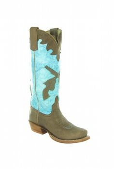 Turquoise Pistol Kid's Boots w/Brown