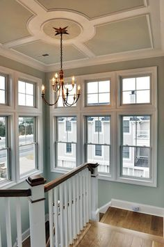 Staircase with molding on ceiling. Sea Salt Walls with WHITE OAK flooring. Love the color for a bedroom also Home Improvement Projects, Home Projects, Home Ceiling, Ceiling Ideas, Ceiling Chandelier, Coastal Living Rooms, Condo Living, Living Area, Living Spaces