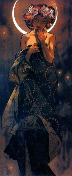 "Alfons Mucha (Czech, 1860 - 1939). The Moon and the Stars: Study for ""The Moon"", 1902. Ink and watercolor on paper, 56 x 21 cm."