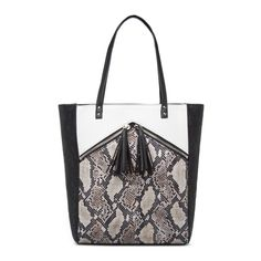 Snakeskin-inspired embossments and tasseled front zippers lend to the edgy-cool style of this IZABELLA RUE tote. #ShoeDazzle
