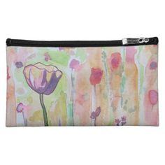 Watercolor Tulip Makeup Bag - flowers floral flower design unique style