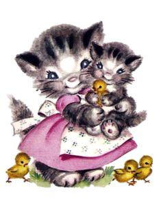 ImagiMeri's: Spring is coming, Spring is coming Vintage Cat, Vintage Easter, Vintage Images, Kittens And Puppies, Cats And Kittens, Kitty Cats, Easter Cats, C Is For Cat, Kitten Cartoon