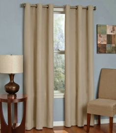Eclipse Curtains Microfiber Grommet Blackout Curtain Panel- Beige- X Single panel Blocks 99 percent of light Reduces intrusive noise by up to 40 percent Blackout Panels, Blackout Windows, Blackout Curtains, Grommet Curtains, Drapes Curtains, Valances, Bedroom Curtains, Thermal Curtains, Office Curtains