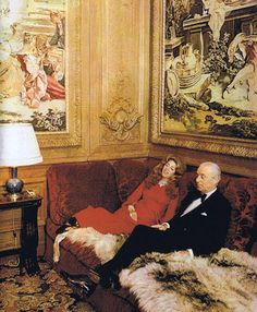 BARON GUY de ROTHSCHILD AND WIFE MARIE-HÉLÈNE ~ in their magnificent home, Hotel Lambert, on the Ile Saint Louis in Paris.